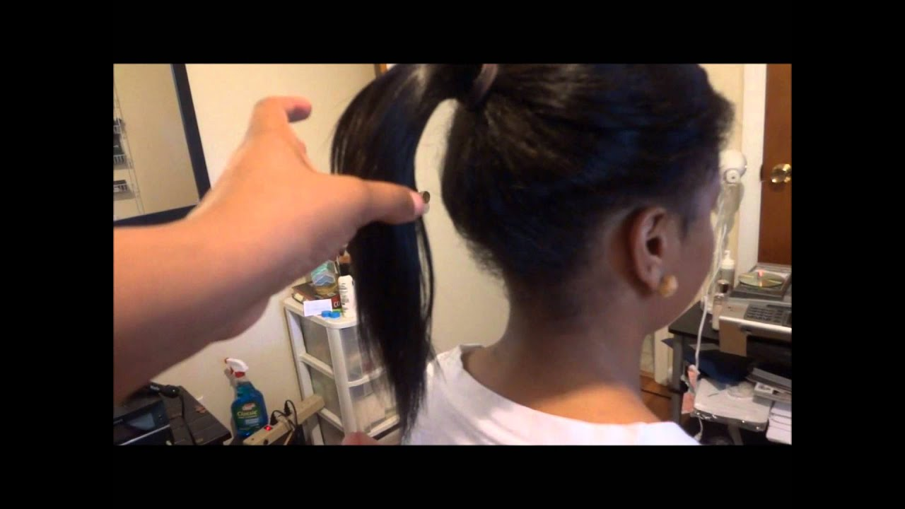 how to set rollers on african hair : ... best Sew in For a Natural High Pony Tail (protective style) - YouTube