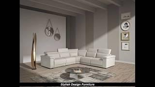 Stylish Design Furniture - Estro Palinuro Modern Grey Leather Sectional Sofa