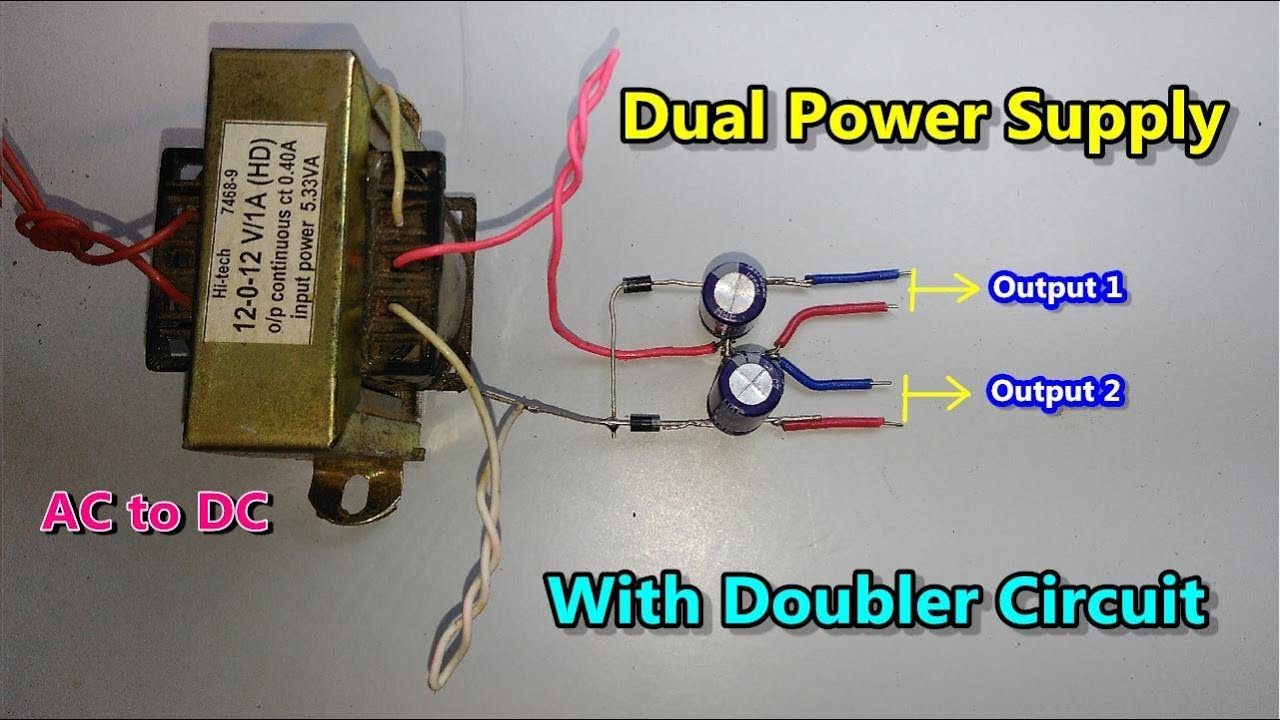 DC || Dual Power Supply with Voltage doubler circuit (AC to DC Converter)using diode & capacitor