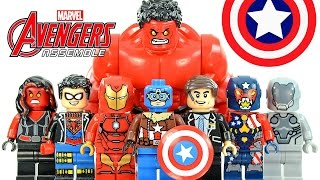 Marvel's Avengers Assemble Captain America Iron Man Red Hulk & Spiderboy Unofficial LEGO Minifigures