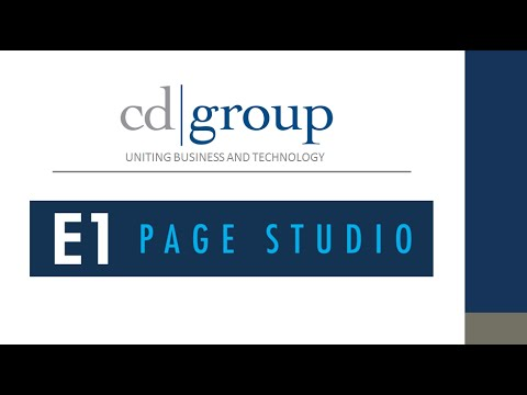 Pages Made Easy with CD Group EnterpriseOne Page Studio