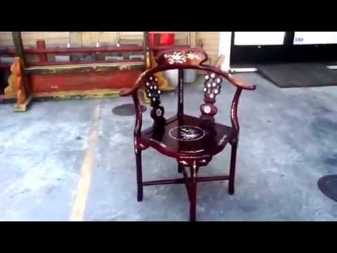 Chinese Handmade Mother Of Pearl Inlay Rosewood Chair