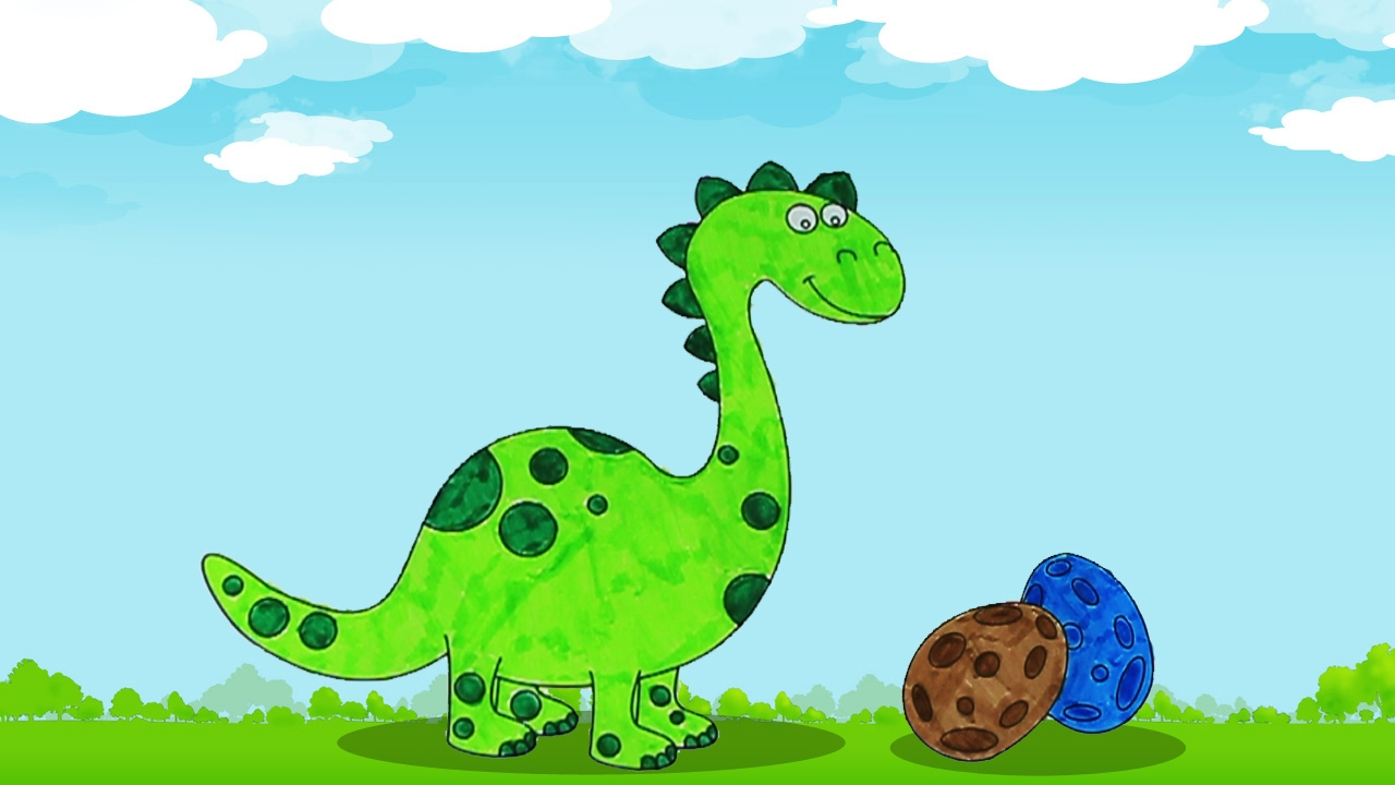 Coloring Dinosaur and its eggs   Coloring pages for kids   learning ...