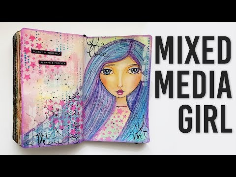 Neocolor II Crayons Mixed Media Girl Face Portrait Painting Art Journal