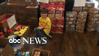 7 year old boy shares his favorite foods to help needy families