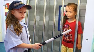 Ulya Pretend Play a Sidewalk Cop and Catches a Robber and puts him in Prison. Funny story for kids