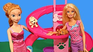 Barbie Frozen Elsa Kids Puppy Park Playground Slide Toy Review Toys Dog Puppies AllToyCollector