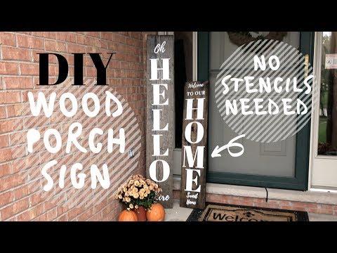 DIY Wood Porch Sign   HAND PAINTED   No Stencils
