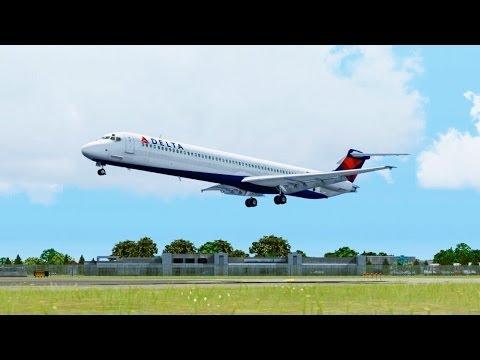 FSX Delta MD-81 Landing @ Buffalo ( Outside ) ( HD )