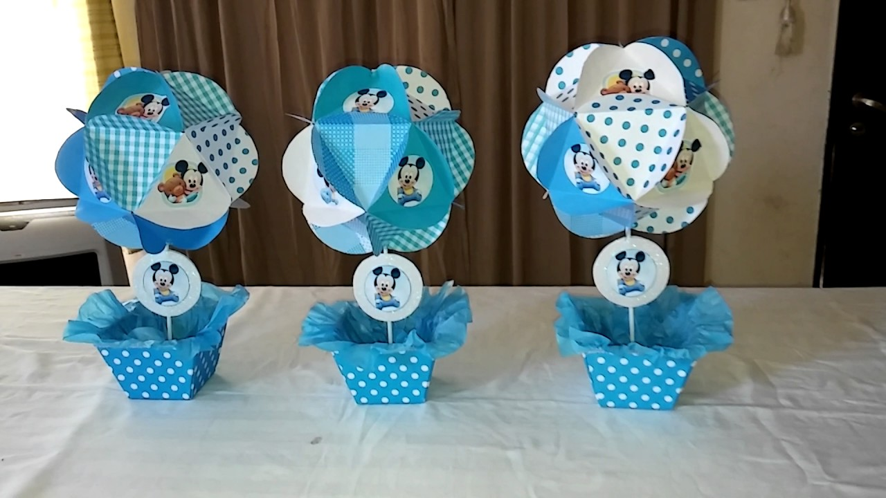 Centros de mesa mickey beb youtube - Mesa de baby shower nino ...