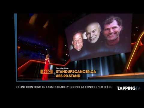 Céline Dion fond en larmes, Bradley Cooper la console sur scène