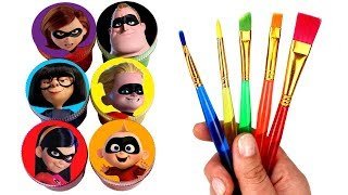 Incredibles 2 Drawing and Painting with Surprise Toys Jack-Jack Violet Dash Elastigirl Frozone Toys