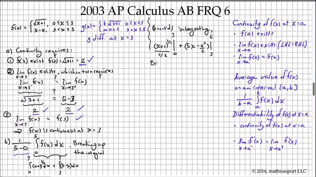 2003 AP Calculus AB FRQ 6 - YouTube