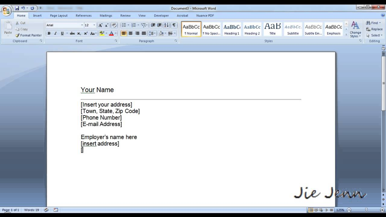 how to create a cover letter template in word
