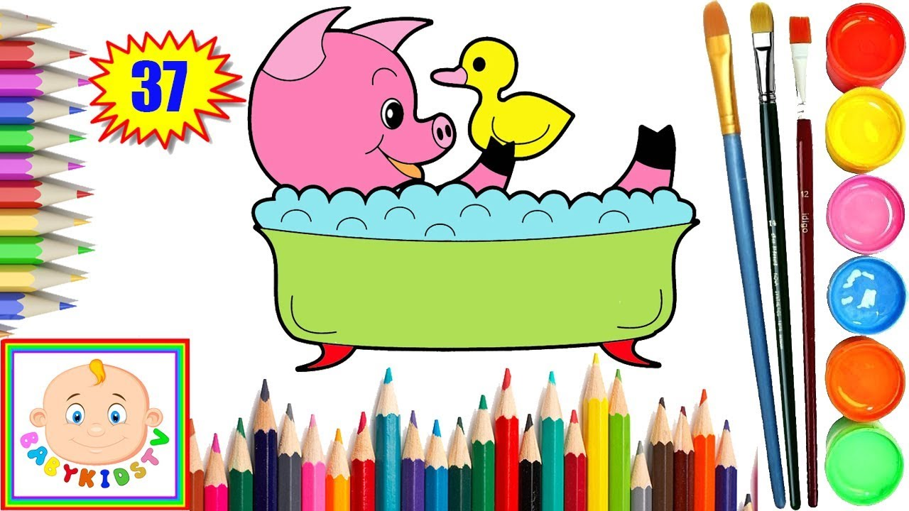 How to Draw Bath Pig and Duck for Baby Painting Coloring Pages Video ...