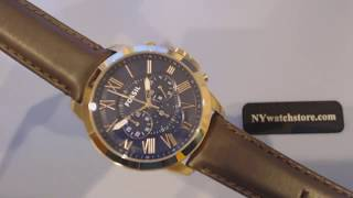 Men's Fossil Grant Chronograph Leather Strap Watch FS5068
