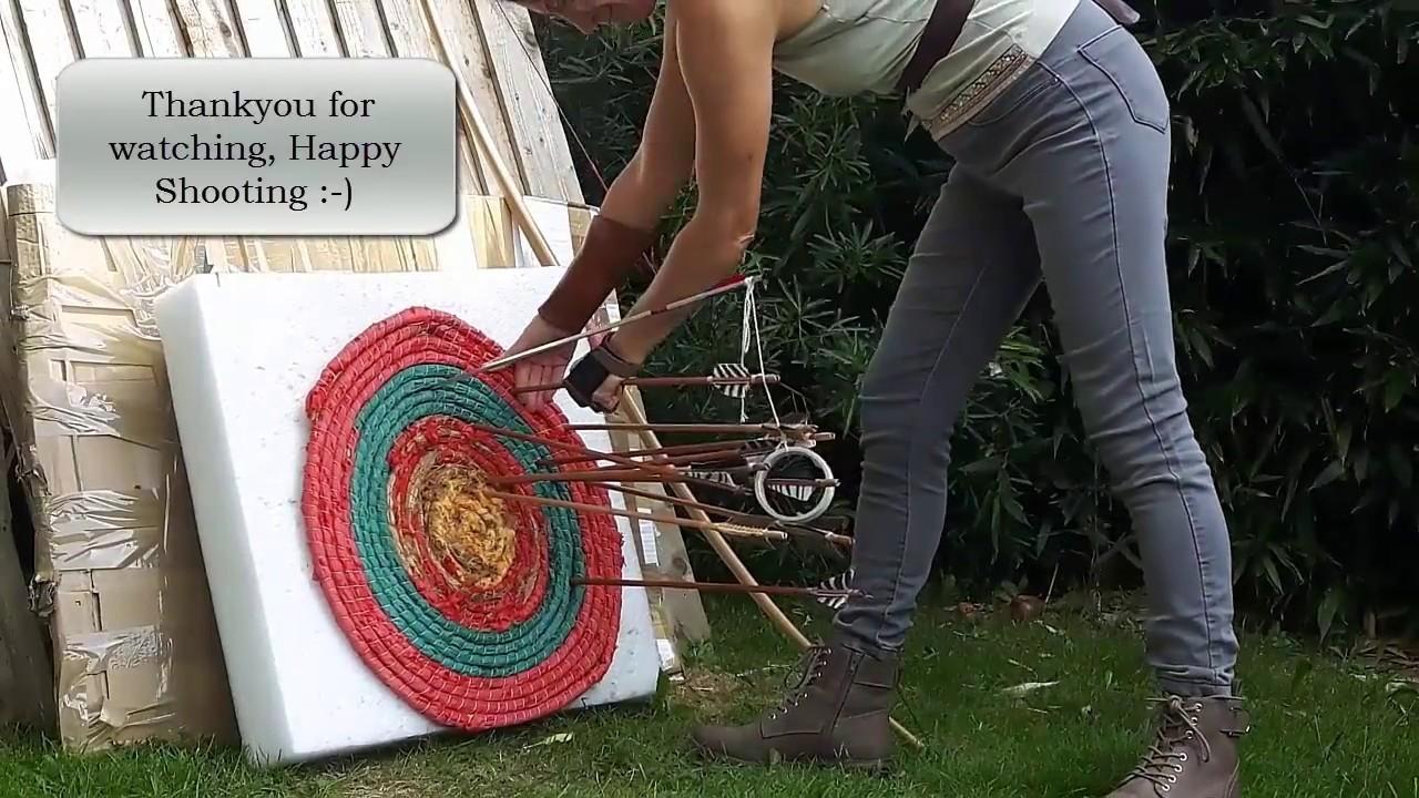 fbbf0959bd15a Hoop Archery Target Shoot Woman Longbow Archer - YouTube