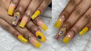 Bright Yellow Ombre Summer Nails | 3D Acrylic Flower Technique | Watch Me Work | Nail Art Tutorials