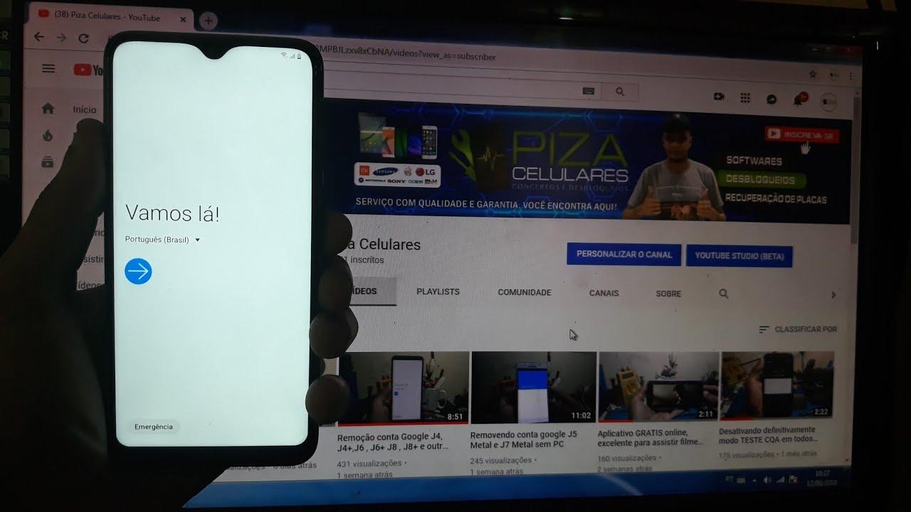 Removendo Conta Google Galaxy A10 Youtube