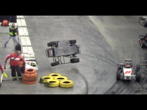 Two Wild TQ Midget Flips At The Battle of Trenton 2016 Indoor Races