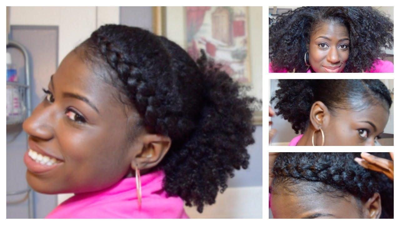 Natural Hair Goddess Braid W Low Puff On 3c 4a Hair