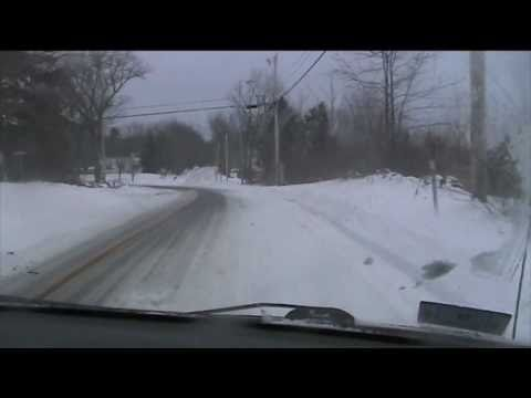 Driving in the Blizzard of 2010 - snow storm in New Hampshire