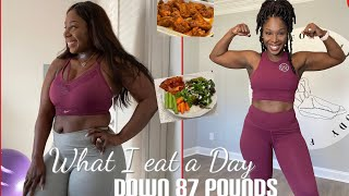 87 POUNDS DOWN! WΗAT I EAT IN A DAY * REALISTIC* 16:8 INTERMITTENT FASTNG!