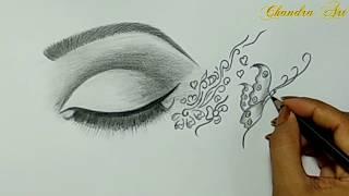 cool drawings easy eye simple sketch drawing pencil sketches paintingvalley