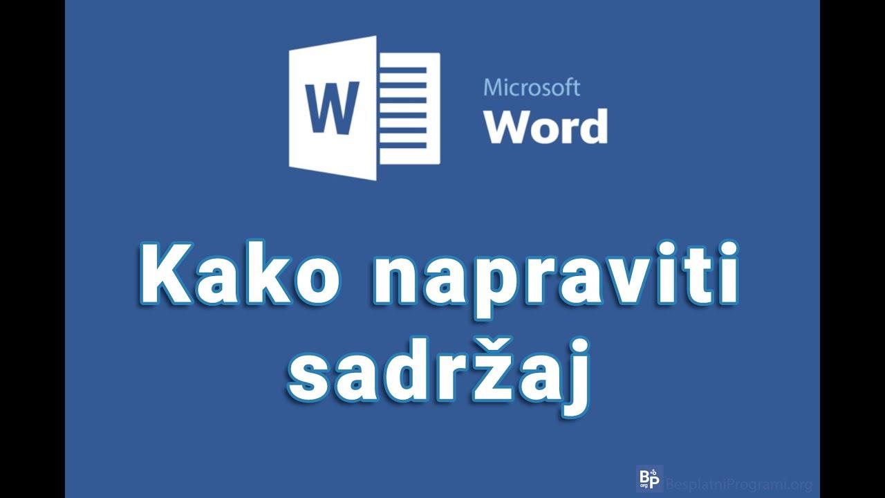 Download Kako napraviti sadržaj u Microsoft Word-u