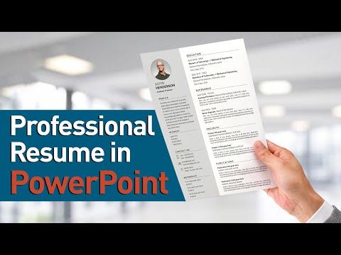 Professional Resume Design In PowerPoint #Resume #ModernResume #Resumedesign