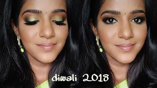 தமிழில் -Diwali Makeup Tutorial on Dark brown Skin-2018💚