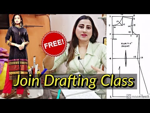 Free Fashion Designing Online Course, How To Draft A Kurti Pattern
