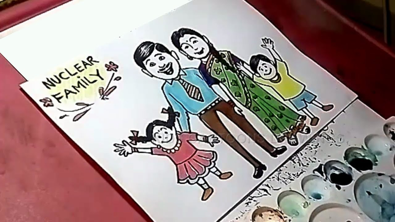 how to draw nuclear family poster drawing for kids youtube