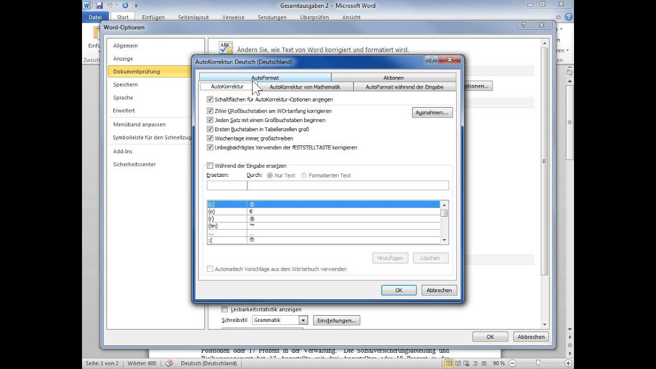 microsoft word 2010 autokorrektur einschalten