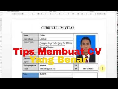 Cara Membuat Cv Atau Curriculum Vitae Yang Baik Dan Benar Youtube