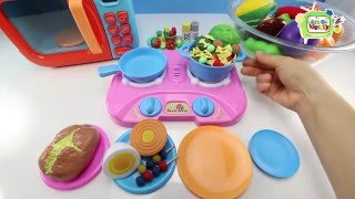 How to make Play Doh Pasta & Kebab Velcro Cutting Vegetables Fun Toy Cooking Playset Video