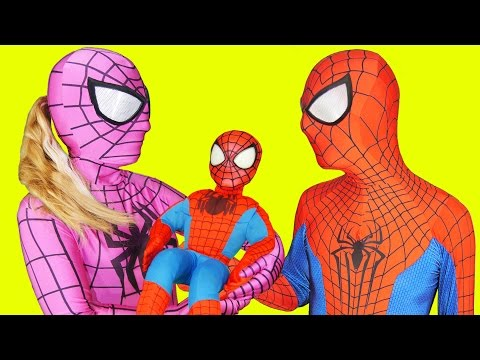 Thumbnail: Pink Spidergirl and Spiderman with Spiderbaby in Real Life Superhero Parents