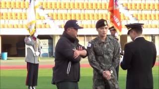 육군 대표로 애국가 제창에 참여한 김재중 일병의 반가운 모습 만나보세요!