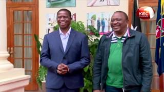 President Kenyatta  hold talks with and his Zambian counterpart