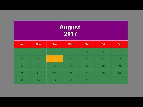 How to create calendar with html and css? - YouTube
