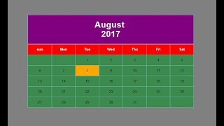 How to create calendar with html and css?