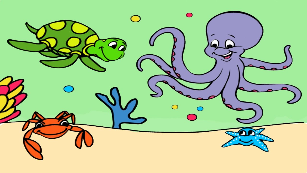 under the sea coloring book pages learn colors for kids coloring