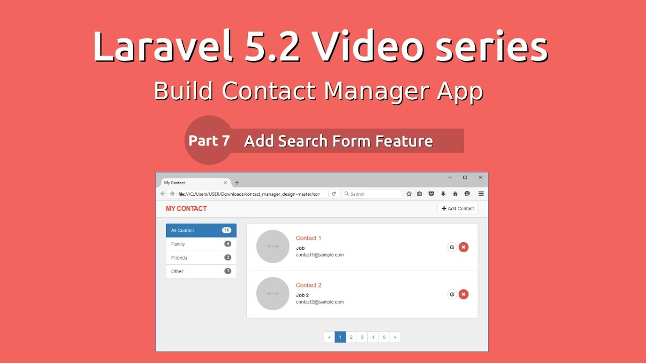 Laravel 5.2 Video Series - Build Contact Manager #7 Search Form ...