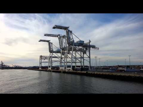 Ferry Ride View. Shipping Container Cranes, Port of Oakland.