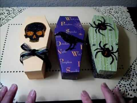 $1 Idea-Skull, Raven & Spider Coffin Treat Boxes (free pattern/template)
