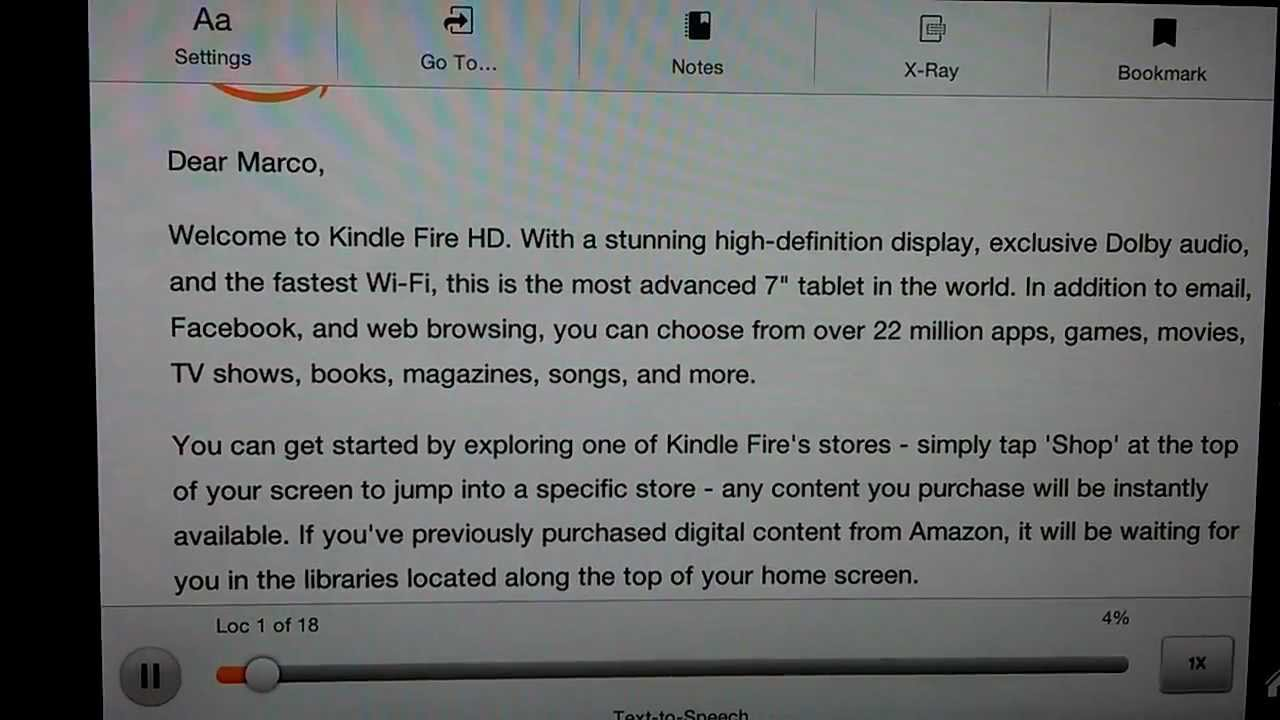 Kindle Fire HD Text to Speech sounds pretty good