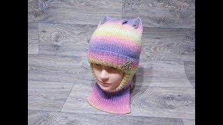 Детская котошапка-шлем спицами.