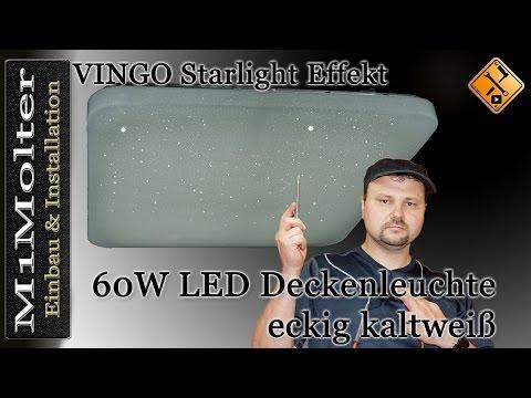 VINGO 60 Watt LED Sternenhimmel Deckenlampe starlight Effekt eckig