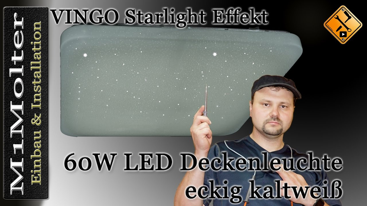 vingo 60 watt led sternenhimmel deckenlampe starlight effekt eckig youtube. Black Bedroom Furniture Sets. Home Design Ideas