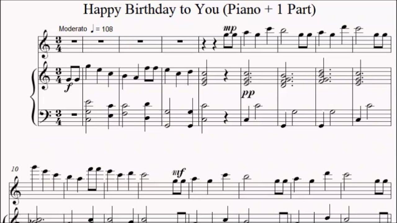 Happy Birthday To You Piano 1 Part Sheet Music Youtube
